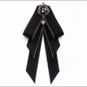 (3 for $25) Black Bow Brooch Tie